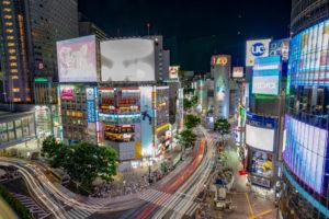 渋谷スクランブル交差点夜景写真